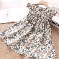 Mädchen-Sommer-Kleider 2020 neue Mädchen-Kleid Blumendruck-Kleid-beiläufige Mädchen Fliegen-Hülsen-Baby-Kind-Kleidung Vestidos 3-7Y