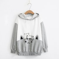 Womens Fashion Sweatshirt Long Sleeve Kitty Cat Print Pocket...