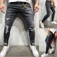 Yırtık Draped Delikler Kalem Jean pantolon Biker Jeans Erkek Mektupları Tasarımcı Pantalones Jeans