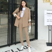 Casual Solid Women Pant Suits Notched Collar Blazer Jacket &...