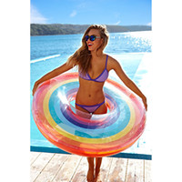 Rainbow Swimming Ring Inflatable Pool Float with Hand Swimmi...