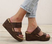 6dd30f0843eb Wish aliexpress amazon hot style foreign trade large size wedge heel light  bottom clip-on sandals for women