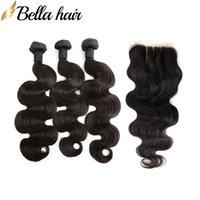 Fauchons de cheveux malaisiens avec fermeture de corps sans trafic de cheveux humains Vierge Hair Extensions de trame 4x4 3 partie de lacets de dentelle 4pcs / lot DHL Bella cheveux