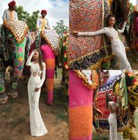 2019 Dire Charchy India 웨딩 드레스 Abiti Da Sposa Jewel Neck Long Sleeve Mermaid 신부 가운 플러스 사이즈 비치 웨딩 드레스 H006