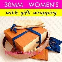 M9052 Diseñador oro de las mujeres icónica INICIALES 30MM REVERSIBLE Flor Brown Impresión de lienzo tela escocesa real cinturones de cuero de lujo de la correa de la cintura cadera 1.2in