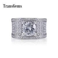 Transgems Luxury 14 К 585 Белое Золото Центр 10 мм F Цвет Vvs Муассанит Обручальное Кольцо Для Мужчин Обручальное Кольцо С Ударениями Y19032201