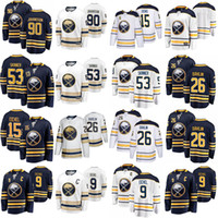 Buffalo Sabers Jerseys 9 Jack Eichel Jersey 90 Marcus Johansson 26 Rasmus Dahlin 53 Jeff Skinner 15 Jack Eichel Hóquei Jerseys costurado