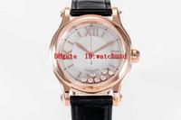 YF завод 36мм HAPPY SPORT Lady роскошные часы из розового золота 18К женщина часы Сапфир водонепроницаемый Швейцарский Автоматические часы Прозрачная задняя крышка