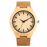 Reloj de cuero hecho a mano de madera natural de madera del reloj de Brown venda de la correa de bambú relojes de cuarzo para los hombres Mejor Gitfs