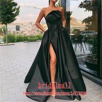 Black Plisses Cetim Africano Prom Vestidos 2020 Sexy Side Slit Formal Vestidos de Noite Varredura Train Dubai Árabe Long Party Vestido Vestido de Fiesta