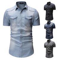 Мужские Джинсовые рубашки Топ с коротким рукавом Мода Повседневная мытье Отворота Рубашка Мужской Деловые Топы