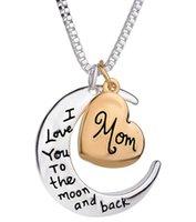 Joyería de la alta calidad del corazón Te amo a la joyería pendiente de la luna y de regreso mamá Día de la Madre regalo al por mayor de moda