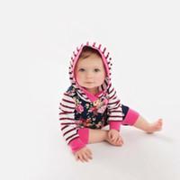 Малыш ребёнки Осень Цветочные розовый темно-синий полосатый с капюшоном с длинным рукавом цветок Romper комбинезон Эпикировка Одежда легкий костюм с шортами