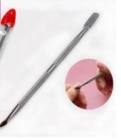 Nastro in acciaio inox Entrambe le teste Esfoliante Manicure Pelle morta Pala Cura di bellezza Spingipelle Chiodo Strumenti Nail Art Salon HA168