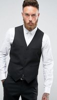 2020 Schwarze Männer Klage-Bräutigam-Westen beiläufige Sleeveless Hochzeit Trauzeuge mit V-Ausschnitt Business-Mann-Klage-Weste Foviva Stil