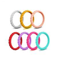 7PCS / SET torção Silicone Ring 3MM Braid borracha flexível Dedo Anéis Wedding Band Engagement Classical empilhável Braid Hypoallergenic Jóias