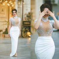 2020 hohen Kragen-wulstige angeschnittene Ärmel Nixe-Abschlussball-Kleid-reizvolle Illusion Mieder Berühmtheit Festzug-Partei-Kleid-Trompete-Kleid-Braut
