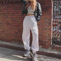 Oceanlove blanco coreano pantalones casuales mujeres Streetwear 2020 Ins pantalón de cintura alta estudiante de moda primavera Pantalon Femme 14039