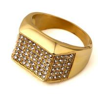 Anillo cristalino del oro blanco de Hip Hop de 18 quilates chapado en oro para hombre de lujo de Bling del Rhinestone del anillo de acero inoxidable Anillo de Oro regalos de la joyería de BF
