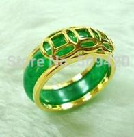 Унисекс бижутерия зеленое кольцо из нефрита