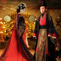 الإمبراطور الآسيوية الملكة الملك الملكي قصر الزفاف ثوب رداء اللباس الصينية القديمة الزفاف hanfu طويلة زي الأسود الأحمر العروس العريس الزي