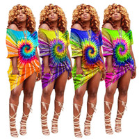 Las mujeres atan los vestidos del tinte más el tamaño mini faldas diseñador de ropa de verano fuera del hombro vestidos de dama de manga corta vestido suelto venta caliente 912