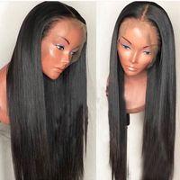 İnsan Saç Dantel Ön Peruk 30 Inç Uzun Ipeksi Düz Tutkalsız Bakire Brezilyalı 30 Tam Dantel İnsan Peruk Siyah Kadınlar Için