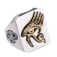 316L Paslanmaz Çelik VintageTwo-ton Altın Yüzük Mısır Horus'un Gözü Yüzükler erkek Biker Takı Erkek arkadaşının Doğum Günü Hediyesi