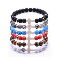 Bijoux cross brins bracelets naturels pierre 8mm noire lave onyx tigre oeil curance élastique ropépulseira hommes femmes braceltes