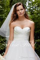 Simples Elegante Sweetheart Silky Tafetá Ruched Corpete com Cós e Flwoers Com Cristal Capela Trem Vestidos de Noiva