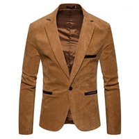 Рукав мужские Вельвет Blazer моды одной кнопки Сплошной цвет Мужские костюмы куртки весна мужчина одежда V Neck Long