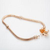 Bracelet os serpent de gros pour la mode usine de gros plaque d'argent Pandora perles européennes bracelet en or rose Livraison gratuite
