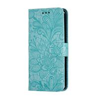 para Huawei mate20 nova3i p30 Y5 2019 honra 8s novo escudo do telefone cartão de flor rendas PU estojo de couro da aleta multi-função de telefone coldre anti-queda