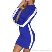 Women Knitted Color Contrast Bodycon Dress Spring Fall Basic...