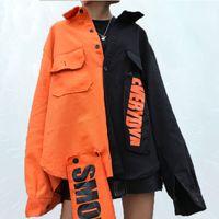 2019 Cheerart Harajuku Denim Jacket Mulheres remendo de letra da cópia Jeans Jacket Brasão cores Mulher bloco solto Streetwear Overcoat SL286