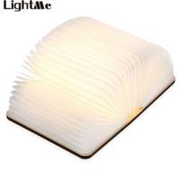 LightMe 충전식 도서 램프 접이식 미니 테이블 라이트 따뜻한 밤 빛 LED 나무 USB 데스크 밤 램프 침실 장식 조명