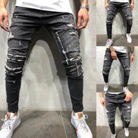 New Men' s Ripped Skinny Distressed Destroyed Slim Stret...