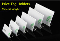 Acrilico L Shape Tavolo Segno Price Tag titolare etichetta di visualizzazione Stand telaio del tavolo di carta Promotion Card titolari di carta
