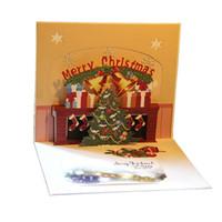 Hecho a mano Feliz Navidad y Feliz Año Nuevo tarjeta de felicitación con los copos de nieve 3D hueco surge el árbol de Navidad Jingle Bell postales de felicitación