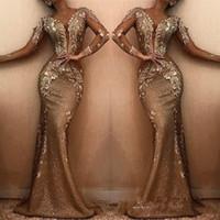 2019 Elegante Meerjungfrau Lange Abendkleider Sheer V-Ausschnitt Lange Ärmel Pailletten Applique Sweep Zug Formelle Party Prom Kleider Kleider