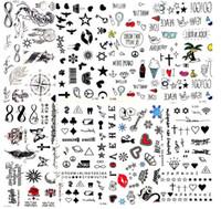 뜨거운 작은 섹시한 입술 잎 검은 만화 임시 문신 귀여운 스타 문신 스티커 사랑 여성 바디 핑거 아트 방수 문신 아이