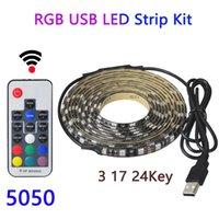 5050 5 M 300LEDs USB RGB LED Lights bande IP65 étanche DC 5V Led bande de lumière de ruban touche Ambilight 17 24 Touche télécommande