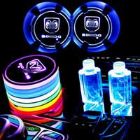 닷지을위한 2 개 LED 자동차 컵 홀더 조명, 매트 발광 컵 패드를 충전 USB를 변경 7 색, LED 실내 분위기 램프