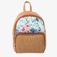 819428033e37d Lady sırt çantası kahverengi hasır tarzı ile dokuma çiçek deseni ile pamuk  çizgili astar kadın sırt çantası B-003