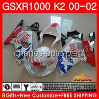 BODOS PARA SUZUKI GSXR 1000 GSX-R1000 GSXR1000 00 01 02 Frame 14HC.39 GSX R1000 K2 00 02 GSXR-1000 2000 2001 2002 Kit de carenado Blanco brillante