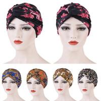 Индия Тюрбан мусульманских Женщин Hat Printed Глава Wrap Beanie Skullies Bonnet Химиотерапия рака Cap Twist Узел Гофрированных моды тюрбан