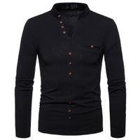 2018 New Style Mode Hommes Automne Hiver chaud Slim moulant col en V T-shirt Bouton à manches longues d'hiver Hauts chauds