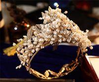Desconto pérolas de luxo coroas nupciais tiaras headband casamento jewelleries festa de aniversário princesa coroa decorações de cabelo jóias brides jóias