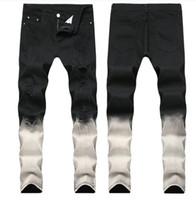 Big Size 2019 Primavera mens Gradazione Nero Bianco Jeans Fashion Designer Strappato Slim Fit casual Gamba Costata Pantaloni Denim Trousres QKN1866