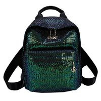 Fashion Women Backpack 2019 Girl Sequin Solid Color Feminine...